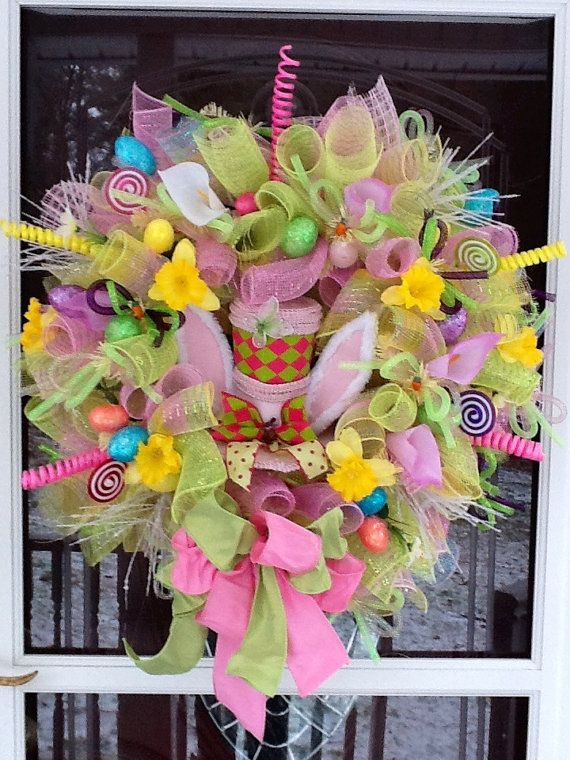 Mesh Easter Hat Wreath By Wreathsetc On Etsy