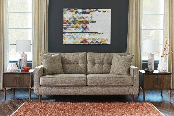 Chento Contemporary Jute Fabric Solid Wood Sofa