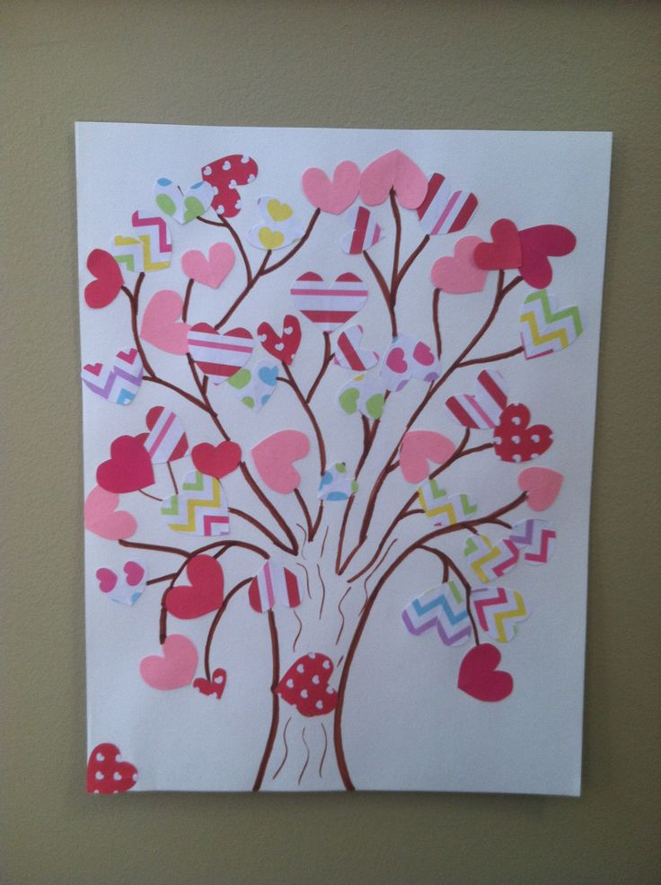 Kid Valentine's tree: 1. Cut different size hearts out of paper (scrapbook, construction paper) 2. Draw a tree with marker onto the paper with lots of branches 3. Have child glue hearts on the ends of the branches Simple and fun for my almost 4 year old. For older kids have them cut the hearts out (you could trace them first)