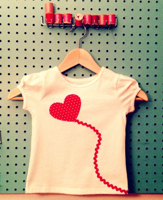 SALE-Sweet Valentine-Heart Applique Tee For Kids-Red Balloon on White via Etsy