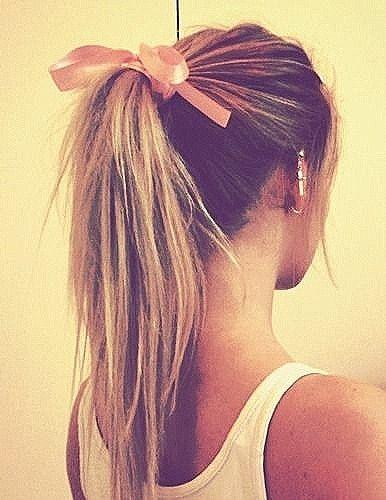 pony tail and hair ribbon