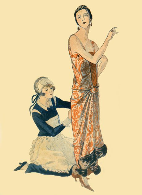 Maid helping her lady with an evening dress, 1923
