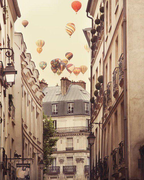 Париж фотографии, Воздушные шары над улицы, путешествия Фотография, Surreal, романтический декор стены - Париж Feeling