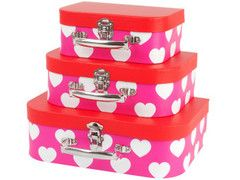 Storage Suitcases Set of Three - Hearts   Paper Products Online