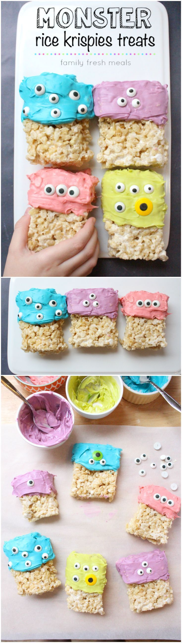 FUN HALLOWEEN FOOD! These easy Halloween treats are fun to make and eat! Easy Halloween Monster Rice Krispie Treats #familyfreshmeals #halloween