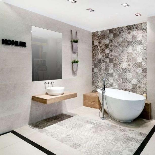 wyjątkowa podłoga i ściana z mozaiki do łazienki
