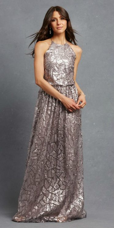 Metallic charcoal grey bridesmaid dress by Donna Morgan