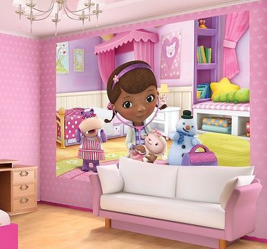 Giant size wallpaper mural for boy's and girl's room. Doc McStuffins kids cartoon photo wall decoration ideas. Express and worldwide shipping. Free UK delivery.