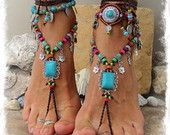 Turquoise Boho nu-pieds sandales FESTIVAL sandales Native Cowgirl Toe tongs déclaration pied usure semelle chaussures moins crochet pied bijoux GPyoga