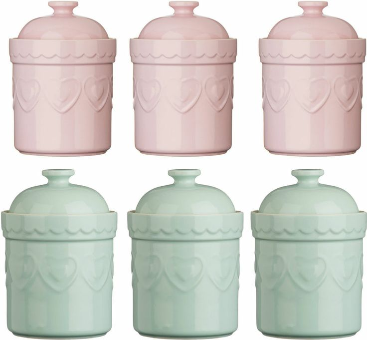 Storage Jars Tea Coffee Sugar Canisters Pastel Stoneware Heart Design Pink Green