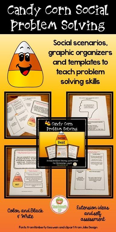 Candy Corn themed activity packet to work on the steps of social problem solving for your elementary students. It includes graphic organizers, visual support, scenarios and a self assessment for your students.