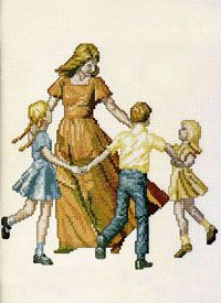 A leaflet containing the cross-stitch pattern of the sculpture honoring a woman's influence: Joyful Moment (a Mother dancing with her children).
