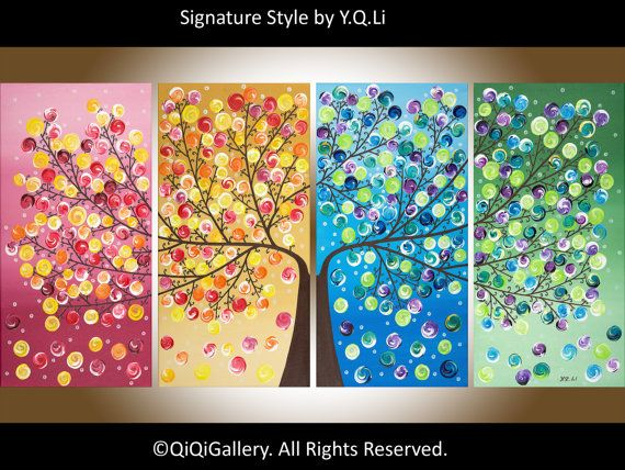Original Large Abstract landscape painting Impasto door QiQiGallery