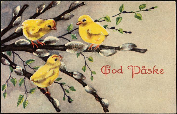 Vintage Easter Postcard Norwegian God Påske