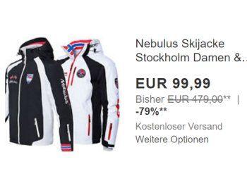 """Nebulus: Atmungsaktive Skijacke für 99,99 Euro frei Haus https://www.discountfan.de/artikel/klamotten_&_schuhe/nebulus-atmungsaktive-skijacke-fuer-9999-euro-frei-haus.php Bei Ebay ist jetzt als """"Wow! des Tages"""" eine atmungsaktive, wasserdichte und windfeste Skijacke für 99,99 Euro frei Haus zu haben. Das Modell ist in zahlreichen Farben für Damen und Herren sowie in den Größen S bis XXL verfügbar. Nebulus: Atmungsaktive Skijacke für 99,99 Euro frei Hau..."""