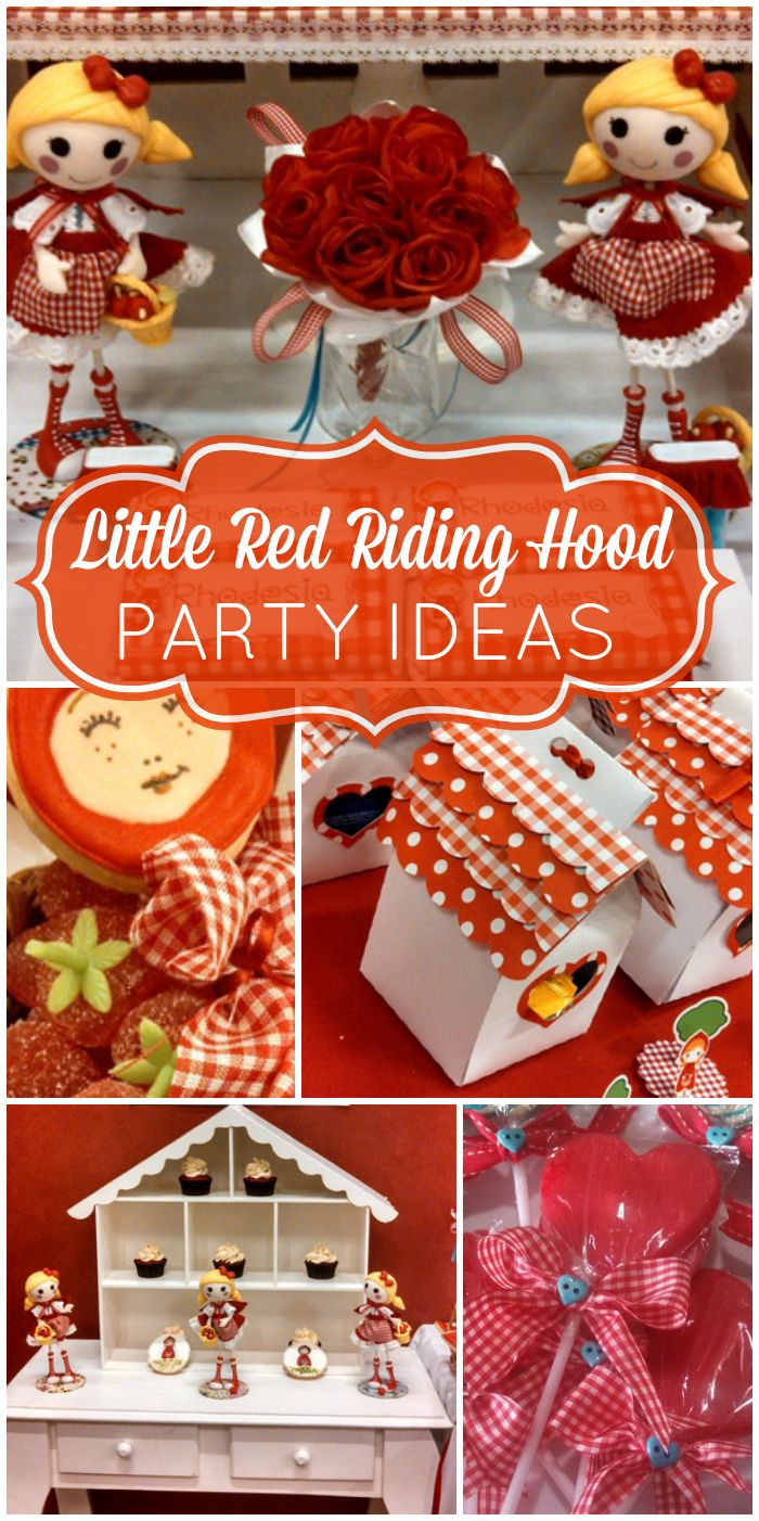 An adorable Little Red Riding Hood girl birthday party with cute cookies and dolls! See more party ideas at CatchMyParty.com!
