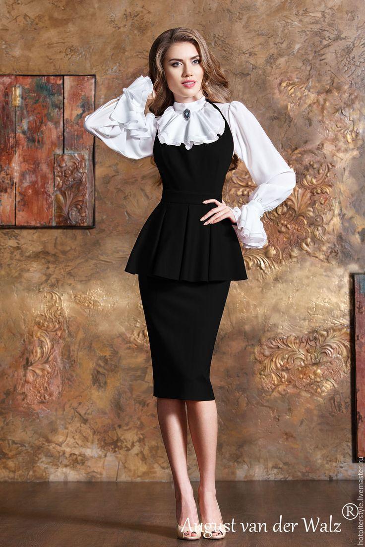 Купить Сарафан с баской, тёплое платье для офиса. - купить платье купить, купить купить платье