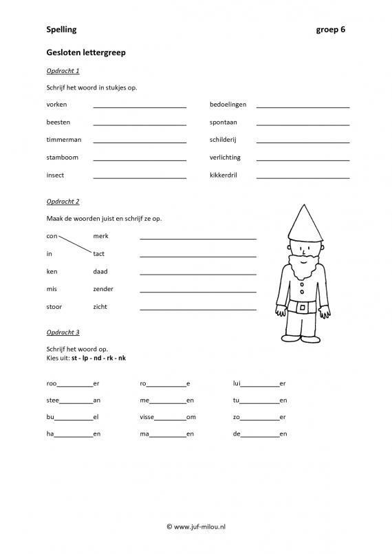 Werkbladen spelling lettergrepen juf milou ned for Werkbladen spelling groep 4