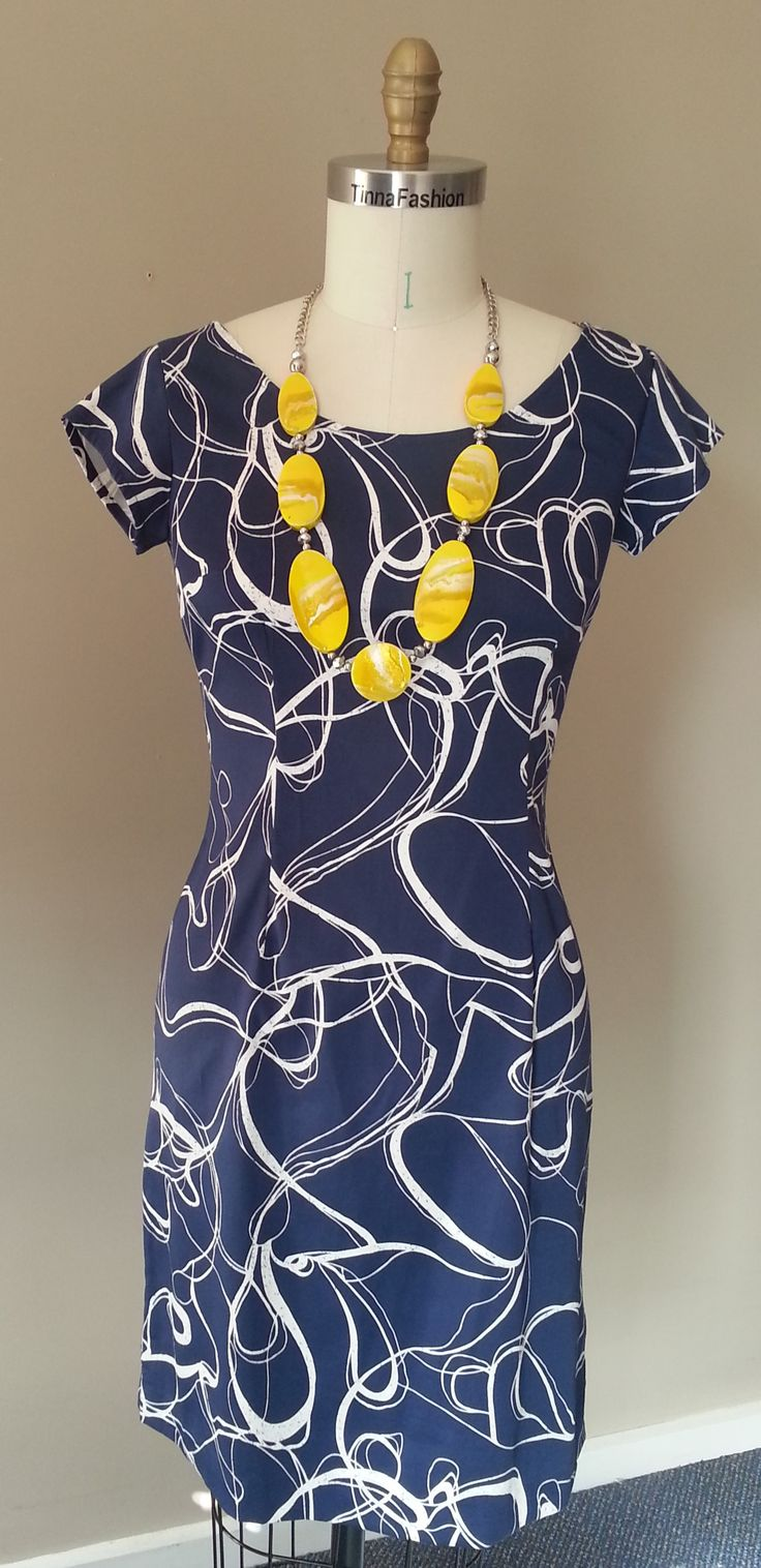 Fitted Dress in Navy Swirl fabric