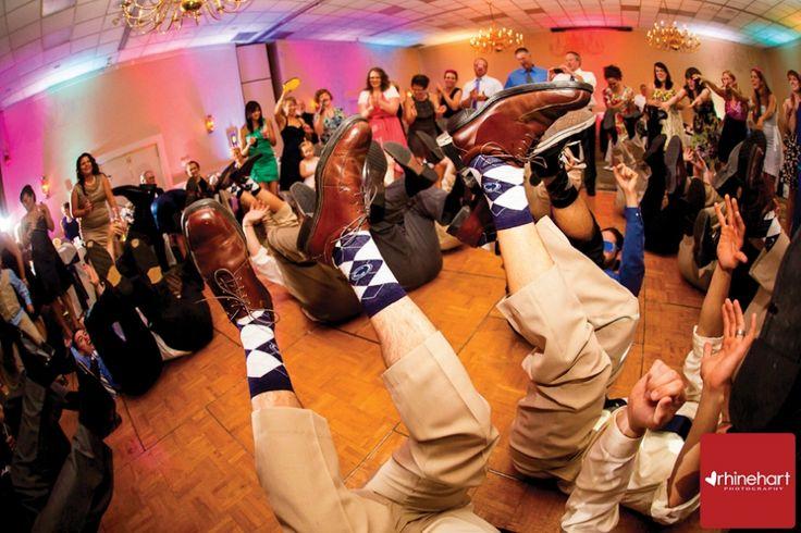 The socks! Roxy & Eric's Penn State wedding. Rhinehart Photography.