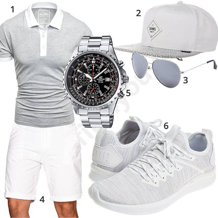 Grau-Weißer Style mit Poloshirt, Snapback und Puma's – GreatHun