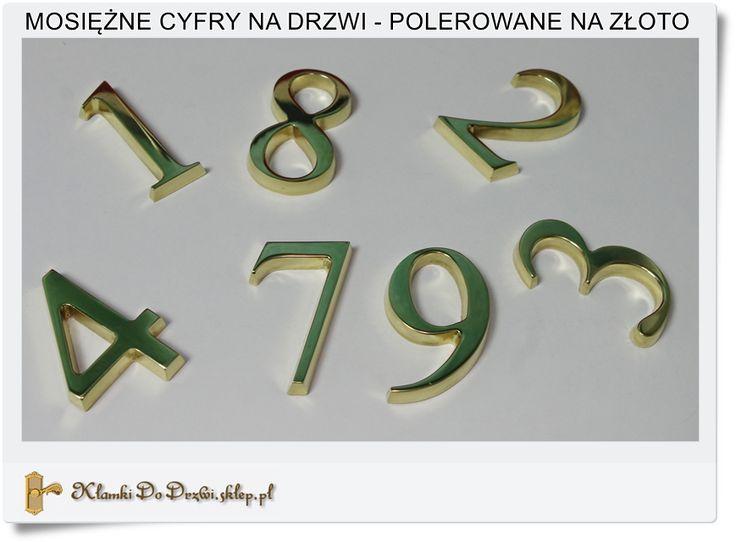 Mosiężne Cyfry w kolorze złota Polskie rękodzieło