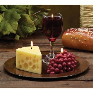 Cc Home Furnishings Pack Of 3 Merlot Scented Wine Cheese Grape Novelty Candle Gift