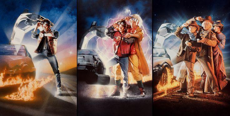 『バック・トゥ・ザ・フューチャー』三部作 (1985 - 1990) 『バック・トゥ・ザ・フューチャー』は1985年に最高の売り上げを記録したが、わたしは、このネオクラシックなポスターがその年の夏に多くの人を映画館に向かわせるのに一役買ったと考えている。大反響を受けて、2つの続編もストルーゼンがイラスト化を担当することになった。IMAGE COURTESY OF DREW STRUZAN