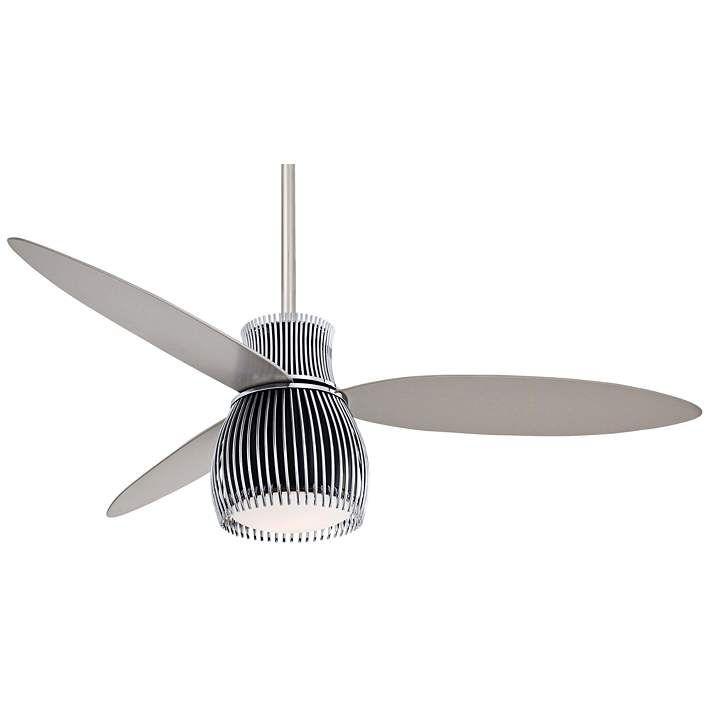 "56"" Minka Aire Uchiwa Black and Chrome Finish Ceiling Fan"