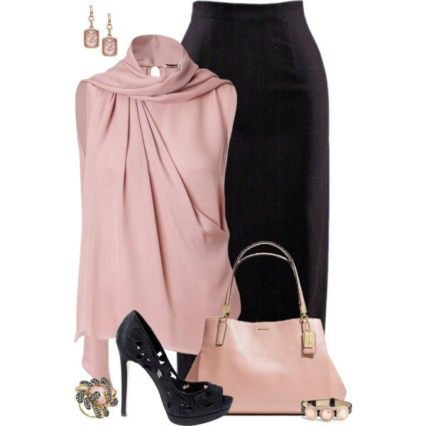 """""""Blush & Black"""" by kswirsding on Polyvore"""