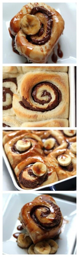 Nutella Stuffed Banana Sticky Buns - Soft, fluffy, banana buns stuffed ...
