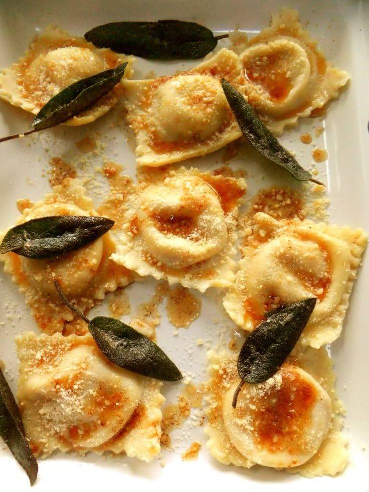 Butternut Squash Ravioli. Filling: Roasted squash, buttery sauteed ...