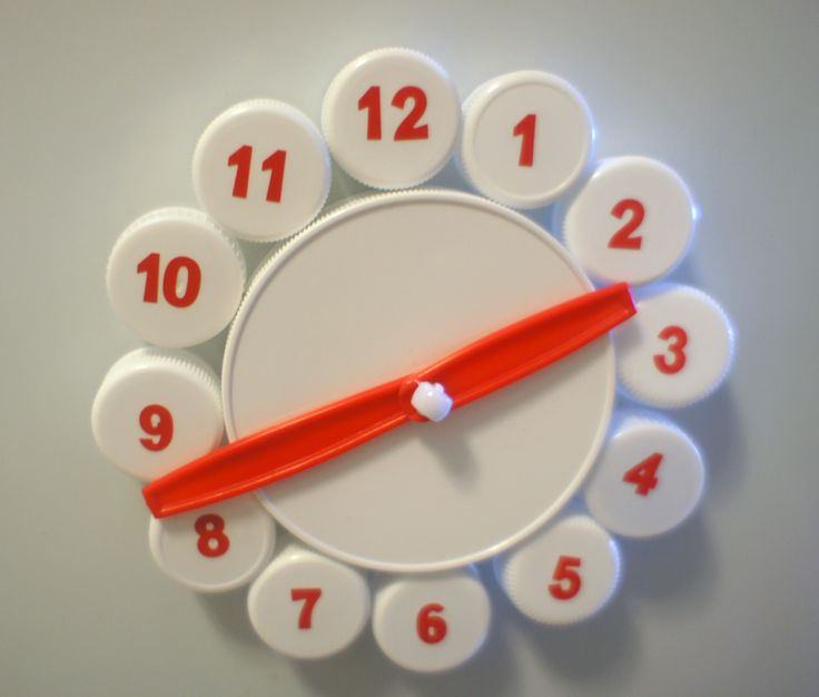 Fridge Clock Toy made from Plastic Bottle Caps