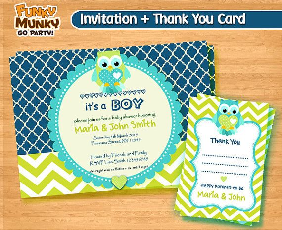 Owl Baby Shower Invitation  Chevron Baby by funkymunkygoparty