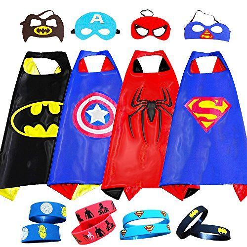 Superhero Costumes For Kids, Girls & Boys   Pretend Play Satin 4 Capes,4 Masks & Bracelets   For Halloween, Birthdays Party Favors, Dress Up & More visit us on canawan.com