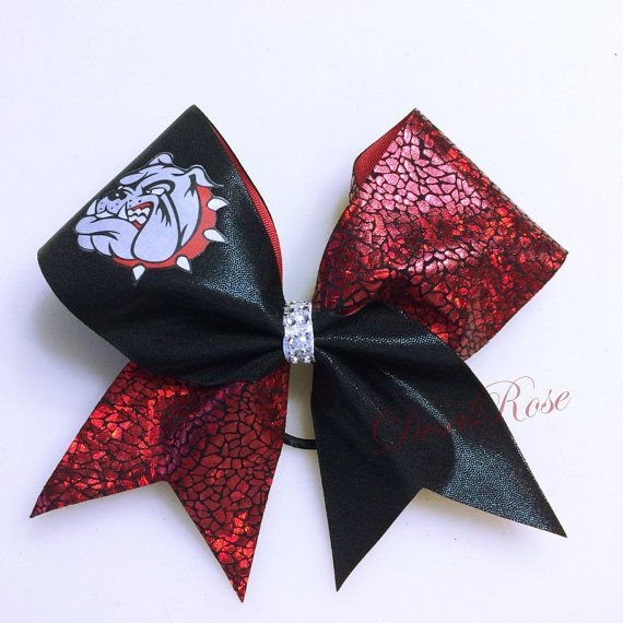 If the black was silver, this would be great for the squad https://www.etsy.com/listing/188770935/bulldogs-bow-sports-bow-cheer-bow