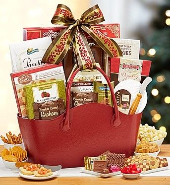 Elegant Cheer Gift Tote Basket from 1-800-Baskets.com.  Clients, family and friends alike will marvel at everything inside this thoughtful gourmet gift basket: Ghirardelli®, Godiva®, Stonewall Kitchen®, cookies, pretzels and more tantalizingly delicious snacks.  Get your rebate from RebateGiant.