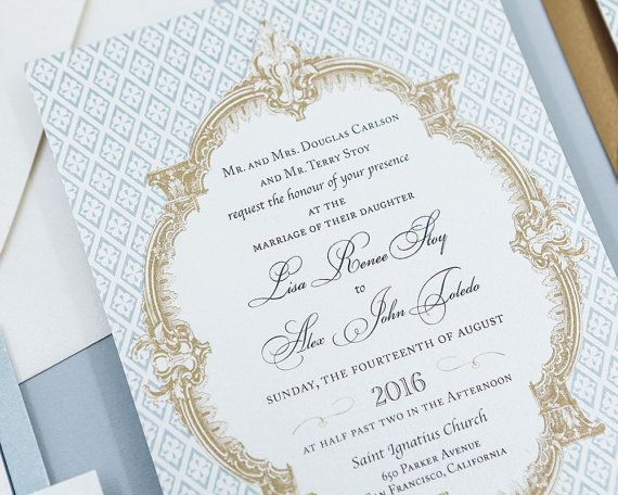 French Baroque Wedding Invitations ,Fleur De Lis Wedding Invitation  Sets,French Blue Wedding Invitations, Custom Vintage Wedding Invite Set