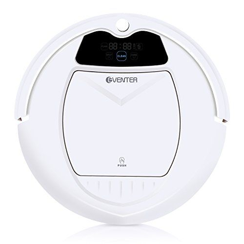 Eventer Robotic Vacuum Home and Kitchen Cleaning Robot, Self-charging Scrubbing, Anti-allergy From Dust Pet Hair with Tangle-free Suction for Thick Carpet & Hard Floor-White  SUPER INTELLIGENT - An intelligent cleaning system, including automatically docks and recharges, personalized cleaning schedule, adjustable suction power. A full suite of sensors includes external sensors such as bumpers, cliff sensors, infrared sensors, and internal sensors that make 100% Hands-Off vacuuming.  SI...