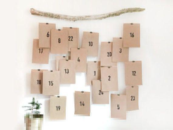 Adventskalender No. 10 (braun) / Kalender, Advent, Geschenk, Weihnachten, Tütchen, Papiertüten, DIY, Stempel