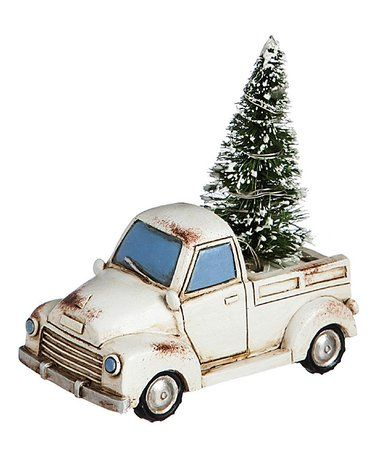 White Vintage Truck Light Up Tree Christmas Decor So Sweet