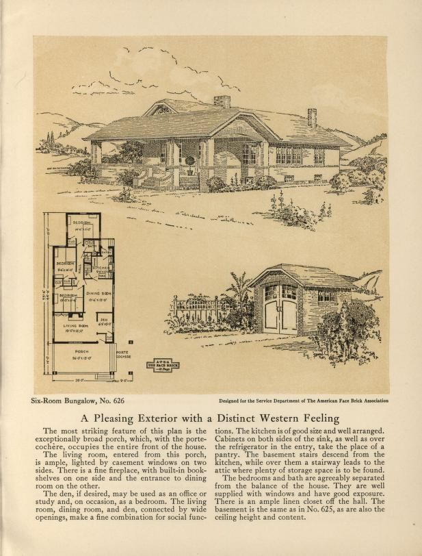 Six Room Face Brick Bungalow And Small House Plans 2nd Ed Small House Plans Small House House Plans