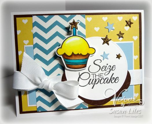 Card by Susan Liles using Carpe Cupcake from Verve Stamps.  #vervestamps