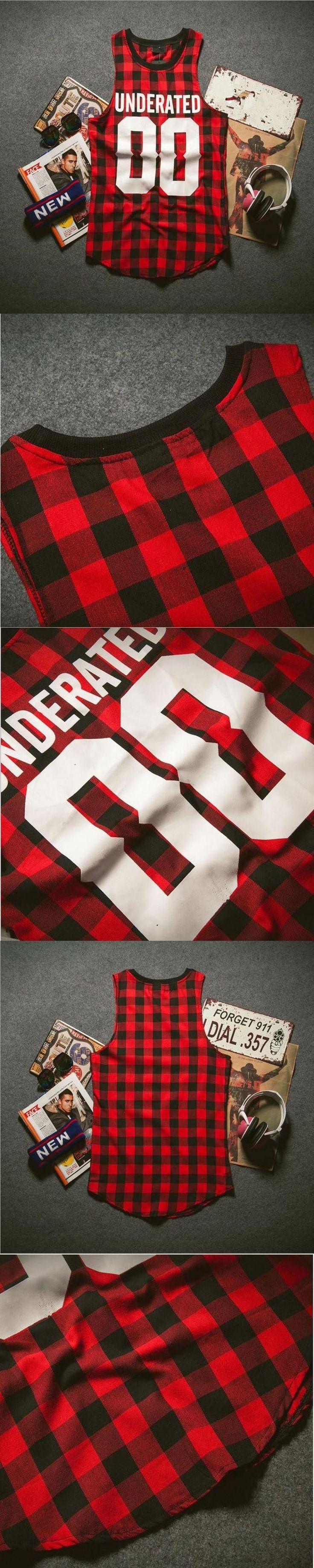 Hot sale 2017 UNDERATED Bandana Men's Extended Tee Shirts Men Skateboard Element t-shirt Hip Hop plaid vest Streetwear Clothing