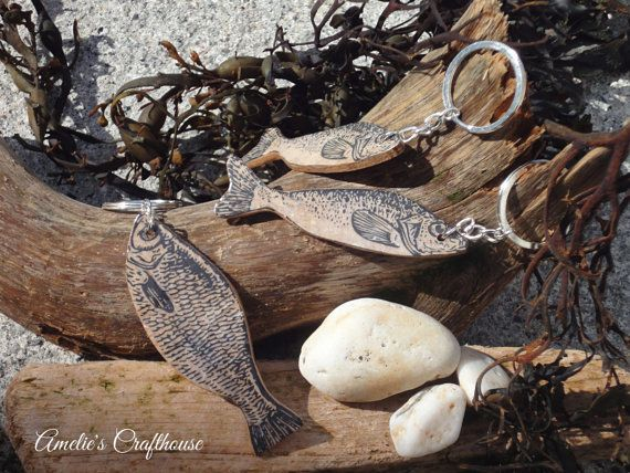 Fish Key Ring | Fish Key Chain | Fisherman's Friend | Nautical Gift | Gift for Sailor | Gift for Him | Animal Key Ring | Wooden Fish Keyring