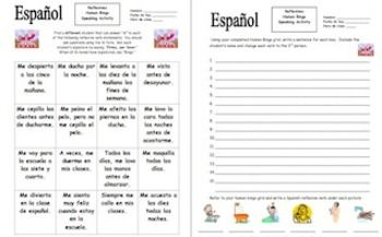 Spanish Reflexive Verbs Human Bingo Game Speaking Activity