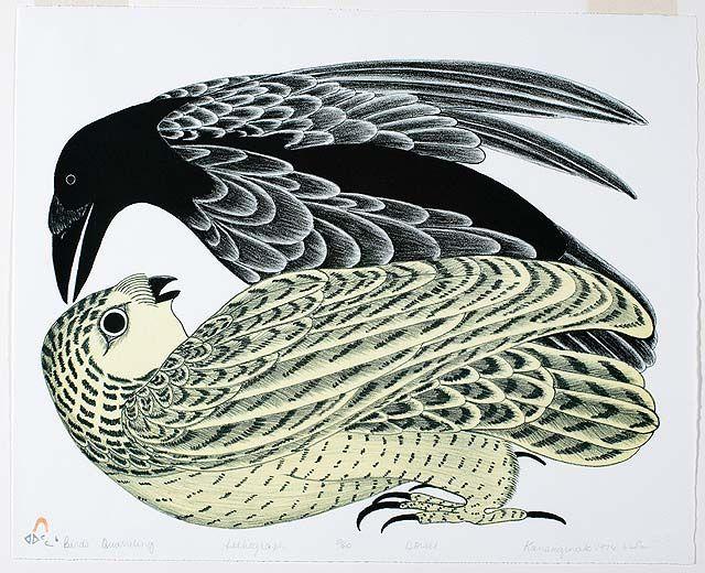 Birds Quarreling  by Kananginak Pootoogook  1976   colour lithograph