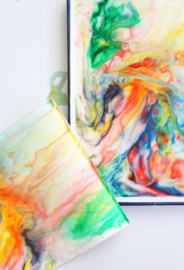 milk art / paper marbling: milk (with some fat, like almond or whole), food coloring, dish soap, q-tips, and watercolor paper