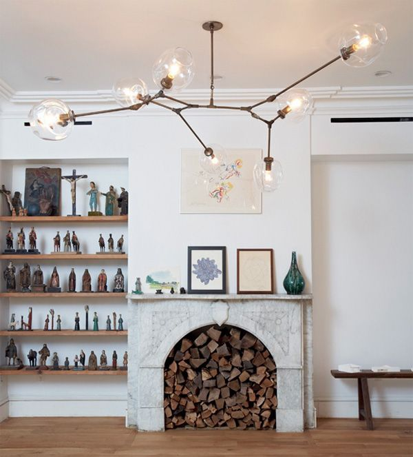 Lindsey Adelman chandelier living room fireplace