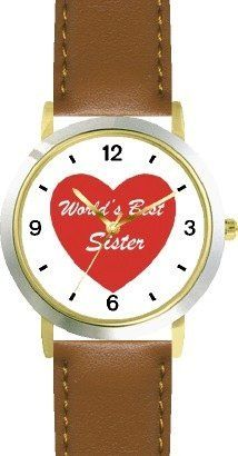 Red Heart - World's Best Sister - Love & Friendship Theme - WATCHBUDDY® DELUXE TWO-TONE THEME WATCH - Arabic Numbers - Brown Leather Strap-Children's Size-Small ( Boy's Size & Girl's Size ) WatchBuddy. $49.95. Save 38%!